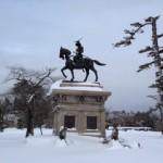 大雪の仙台城址